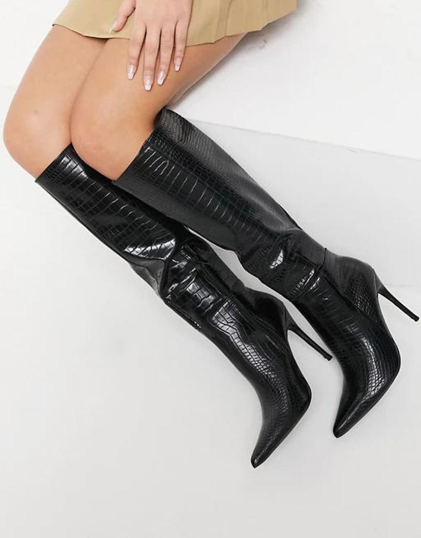 Public Desire Aimi knee boots in black croc