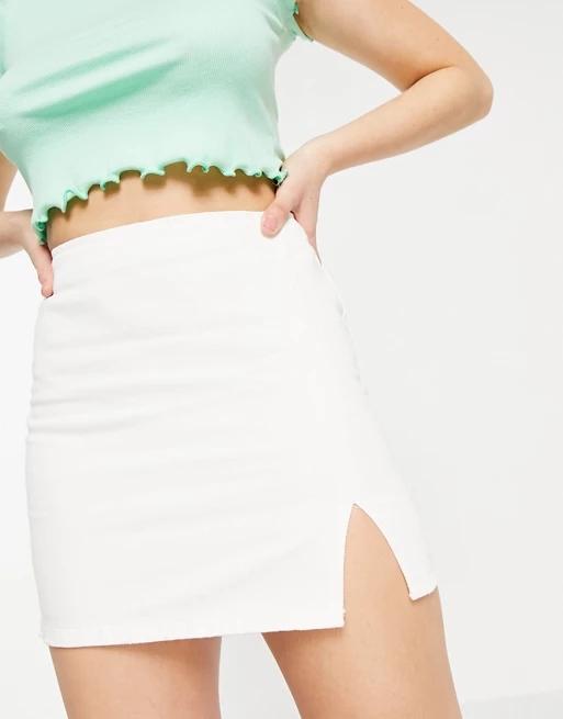 Pull&Bear denim a-line skirt with split detail in white