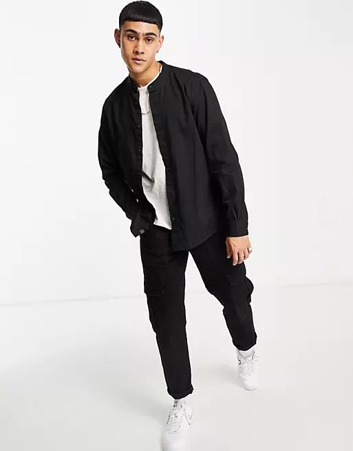 Pull&Bear grandad collar shirt in black