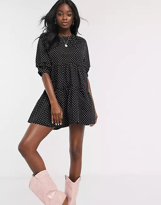 Pull&Bear tiered mini dress in polka dot print