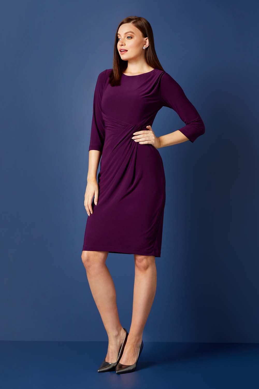 Purple 3/4 Sleeve Twist Waist Dress