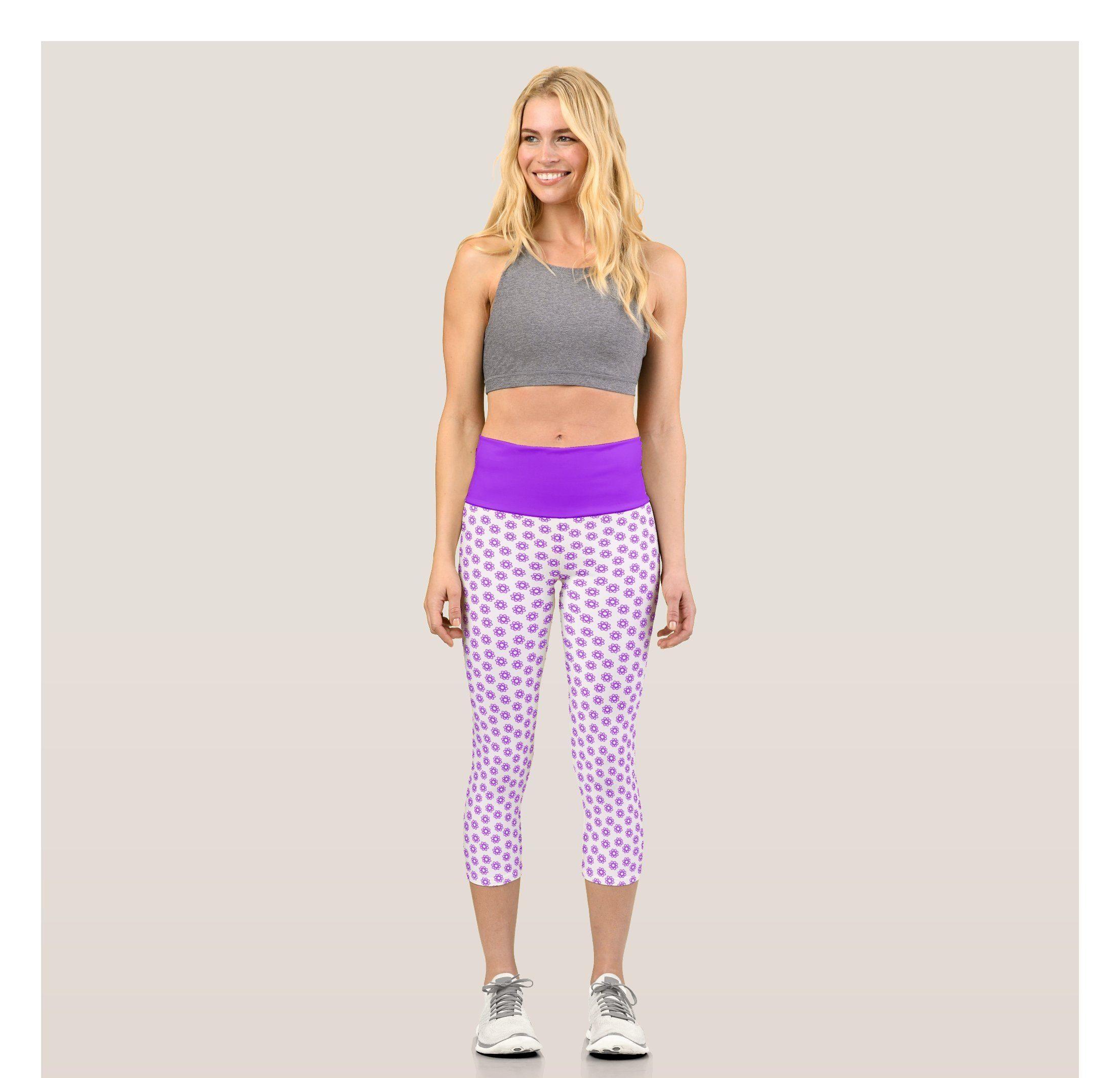 Purple graphic floral pattern capri leggings