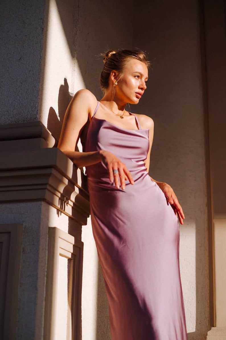 Purple silk slip dress cowl neck Silk midi dress with bare shoulders and open back Dress for bridesmaid Satin dress for special occasions