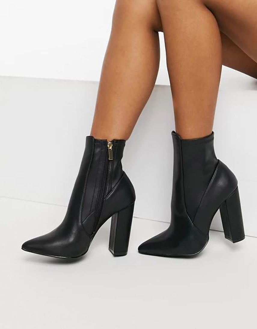 Qupid pointed pointed sock boots black