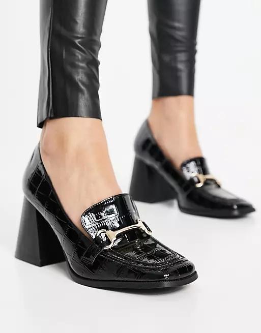RAID Oregon heeled loafers in black patent croc