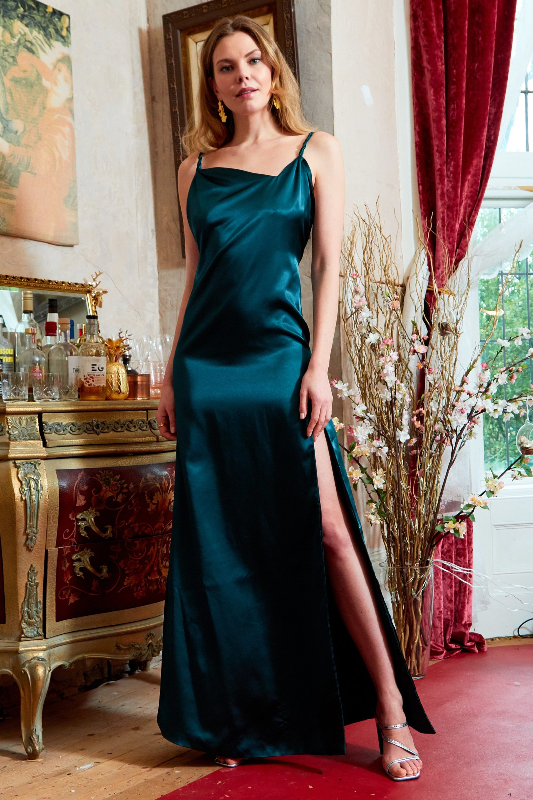 ROSIE - TWISTED STRAPS MAXI SLIP DRESS WITH SIDE SLIT