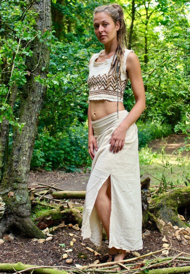 Raw Cotton White Maxi Skirt • Earthy Clothing Side Split Natural Fibre Skirt • Boho Hippy Gypsystyle Burning Man Festival • Calluna Clothing