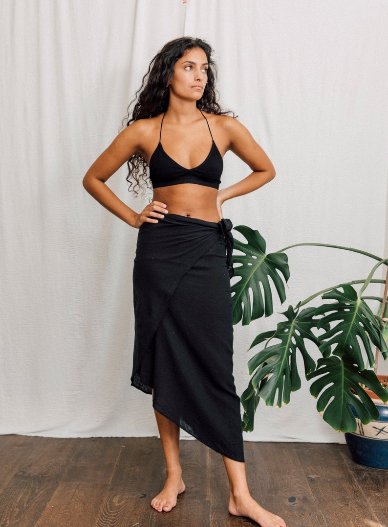 Raw cotton Black Wrap skirt