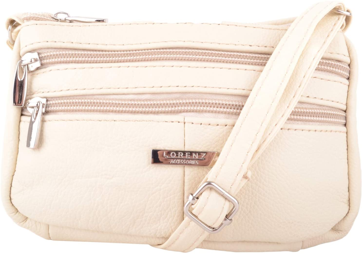 Real Leather Cross Body Bag with Double Shoulder Strap (Beige)