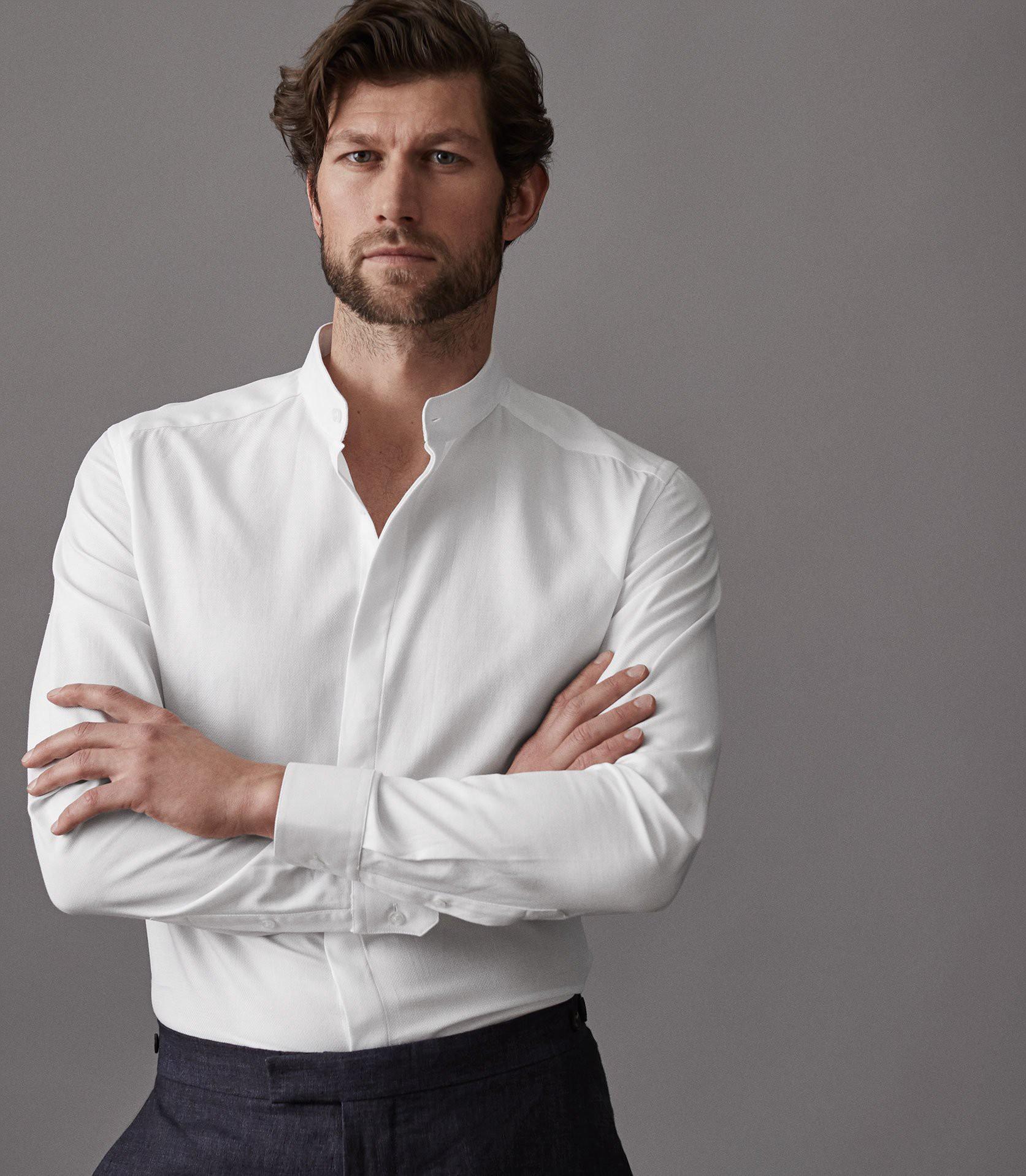 Reiss Romeo Grandad Collar Shirt White