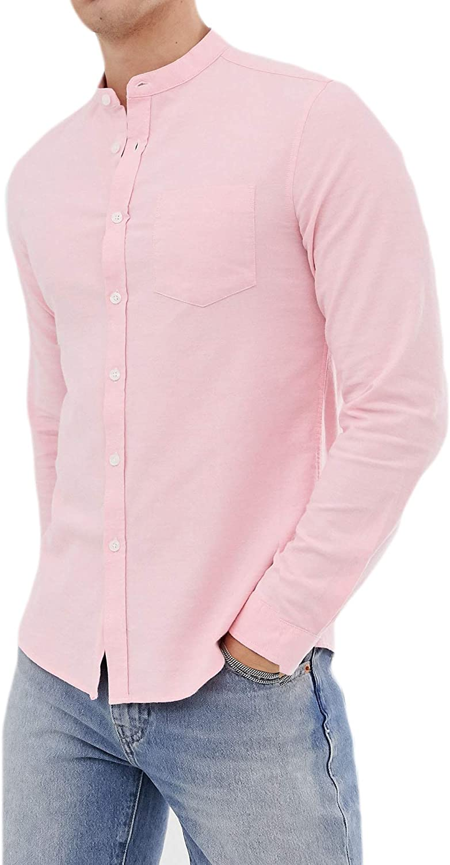 Richard Hawkes Men's Regular Fit Grandad Casual Oxford Shirt