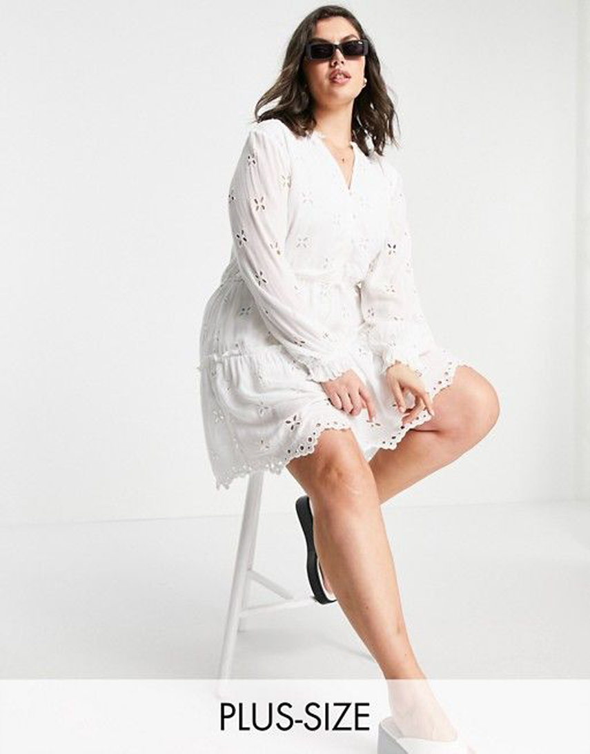 River Island Plus long sleeve broderei mini smock dress in white
