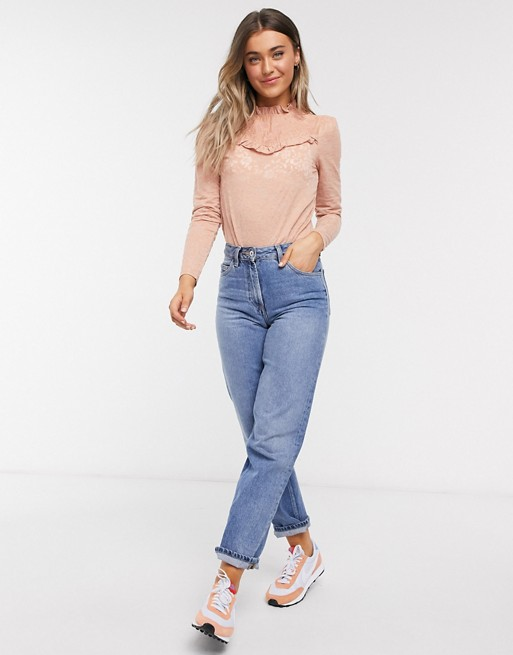 River Island frill long sleeved lace top in pink