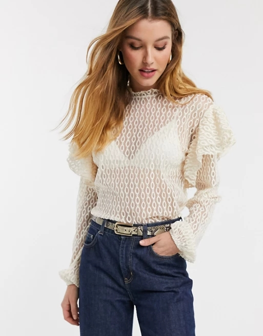 River Island frill shoulder lace blouse in cream