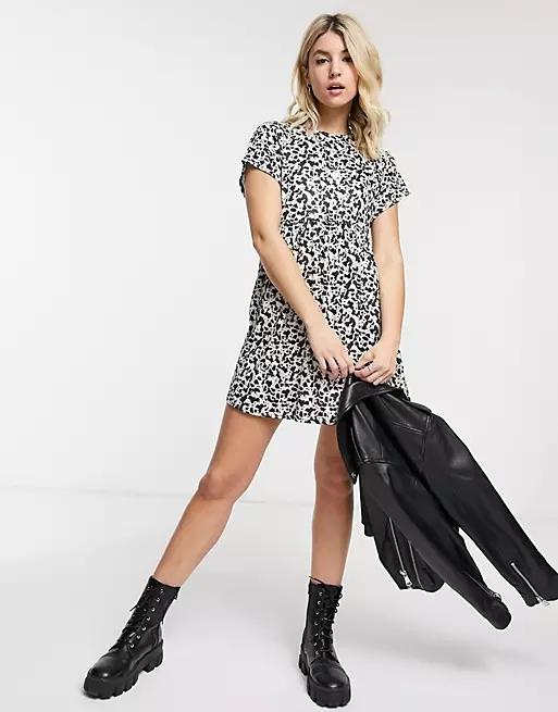Rokoko short sleeve mini smock dress in cow print