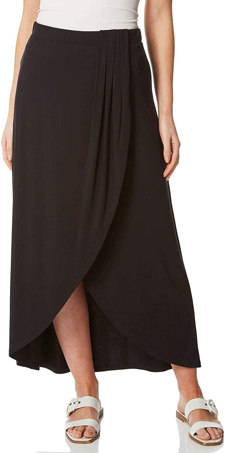 Roman Originals Women Asymmetric Wrap Maxi Skirt - Ladies Spring Summer Full Length Smart Casual Everyday Evening Special Occasion Elasticated Waist Party Holiday Skirts