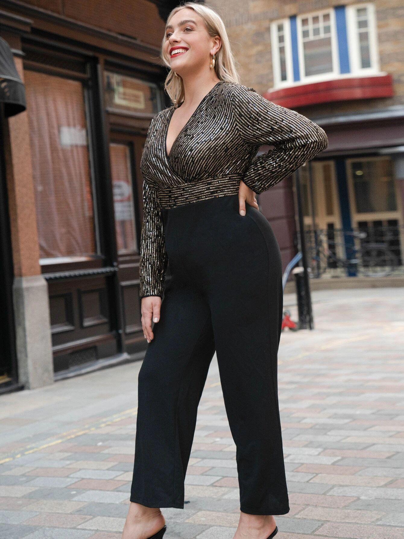 SHEIN Plus Surplice Neck Sequin Bodice Jumpsuit