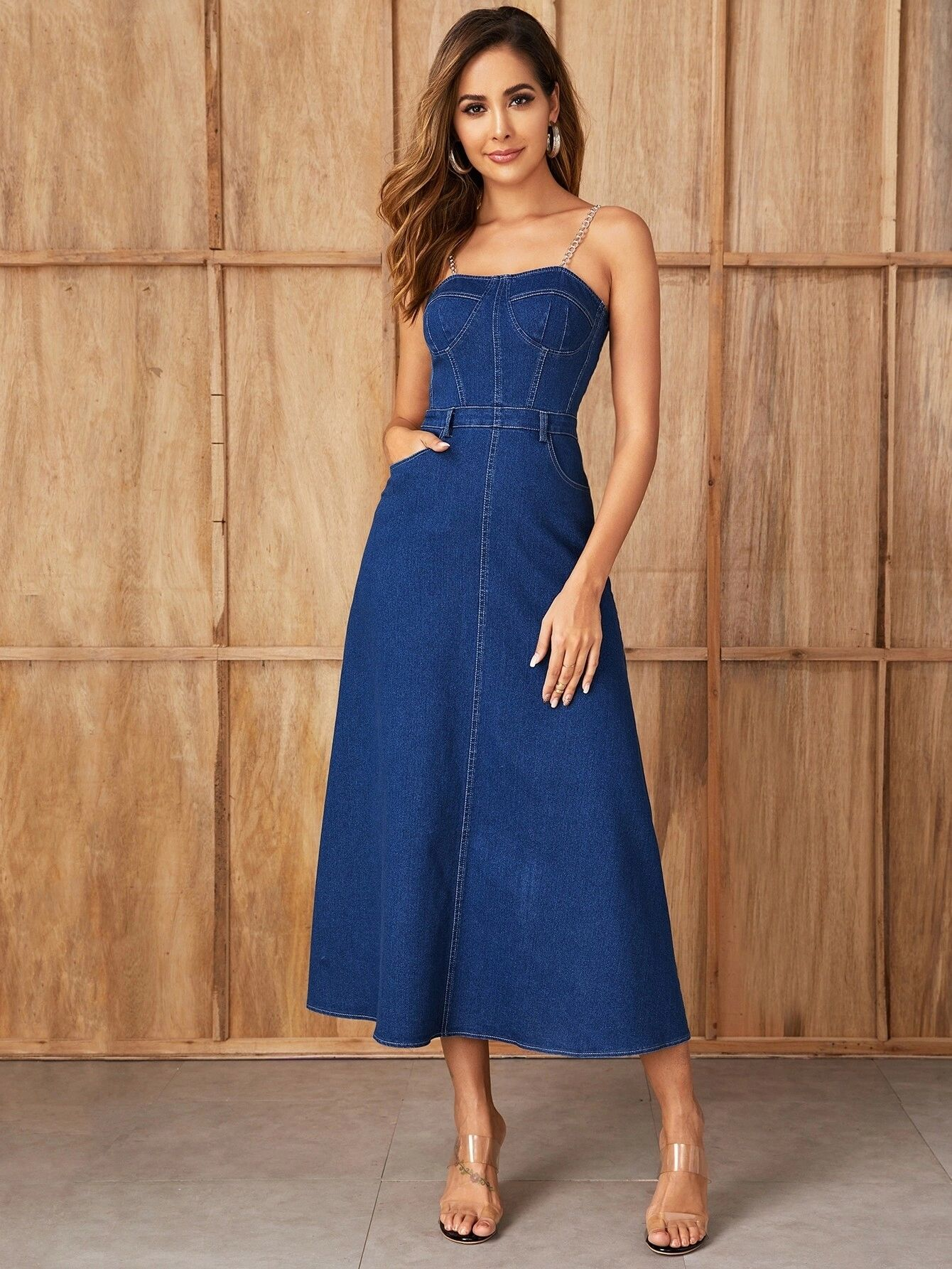 SHEIN Zip Back Fit & Flare Chain Strap Denim Dress
