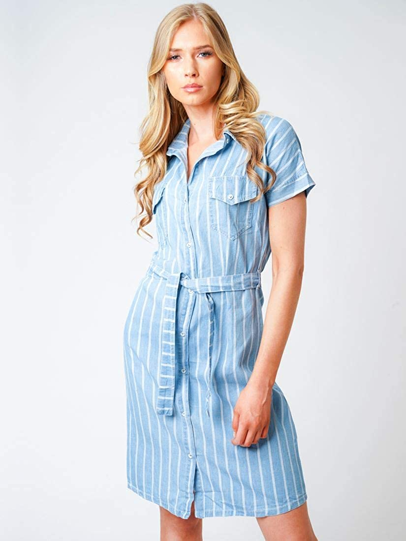 SS7 Womens Chambray Denim Shirt Dress