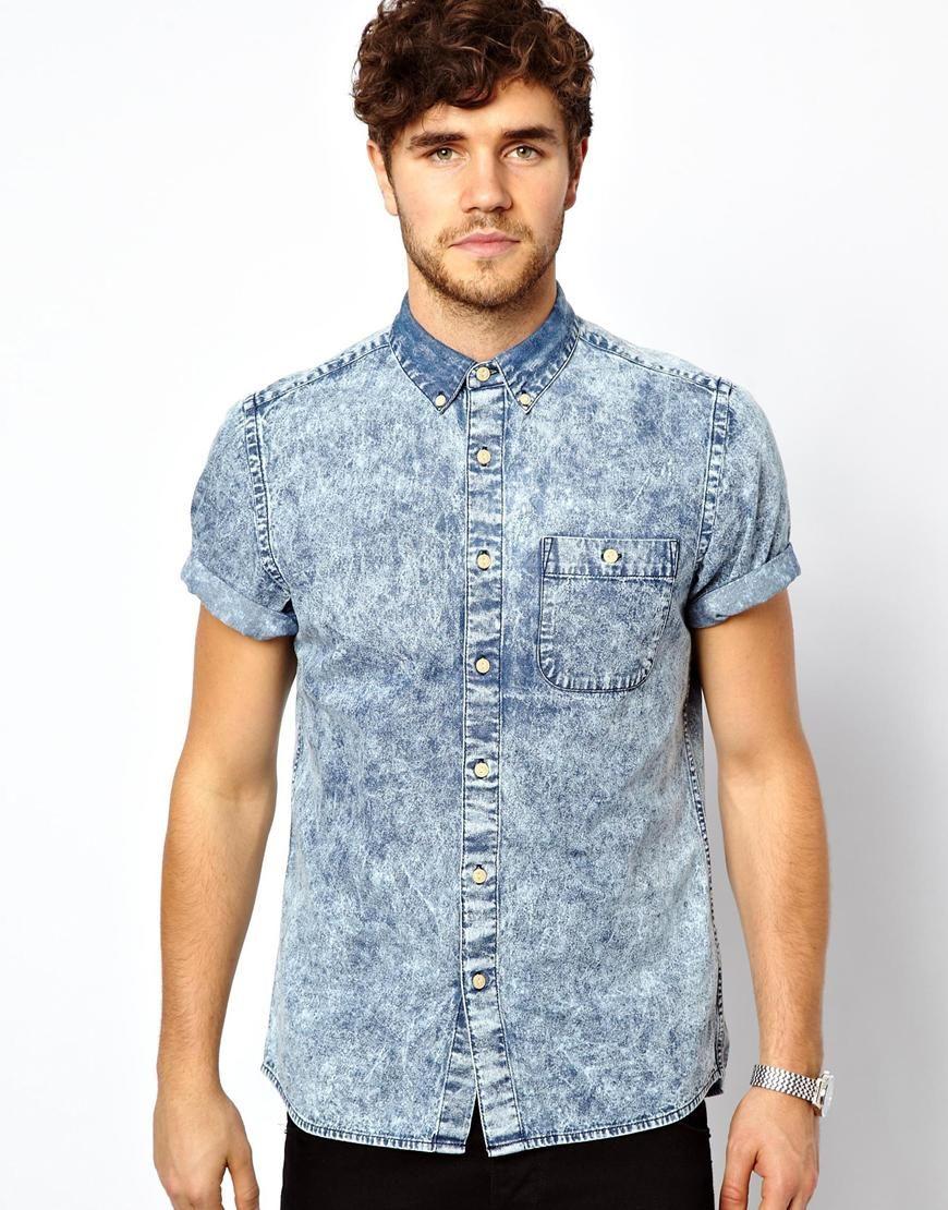 Short Sleeve Denim Shirt For Men