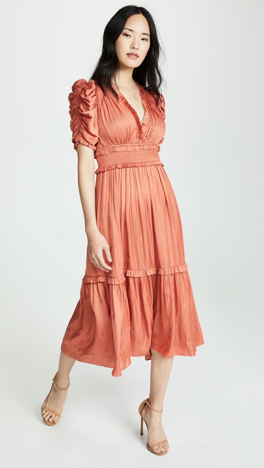Short Sleeve | Womens Ulla Johnson Maya Dress Coral