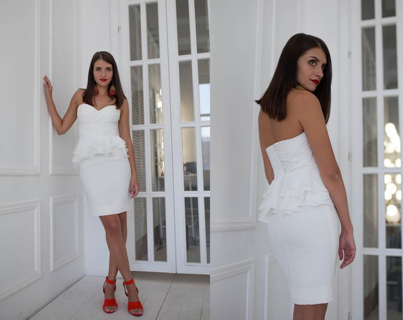 Short simple two piece wedding dress, Modern wedding separates, Draped top with asymmetrical peplum, Short white skirt, Contemporary bridal