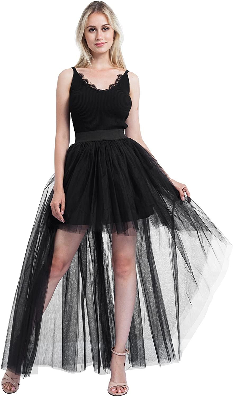 ShowYeu Women's Lace Asymmetrical high Waist Tulle Skirt Swallowtail Punk Maxi Dress