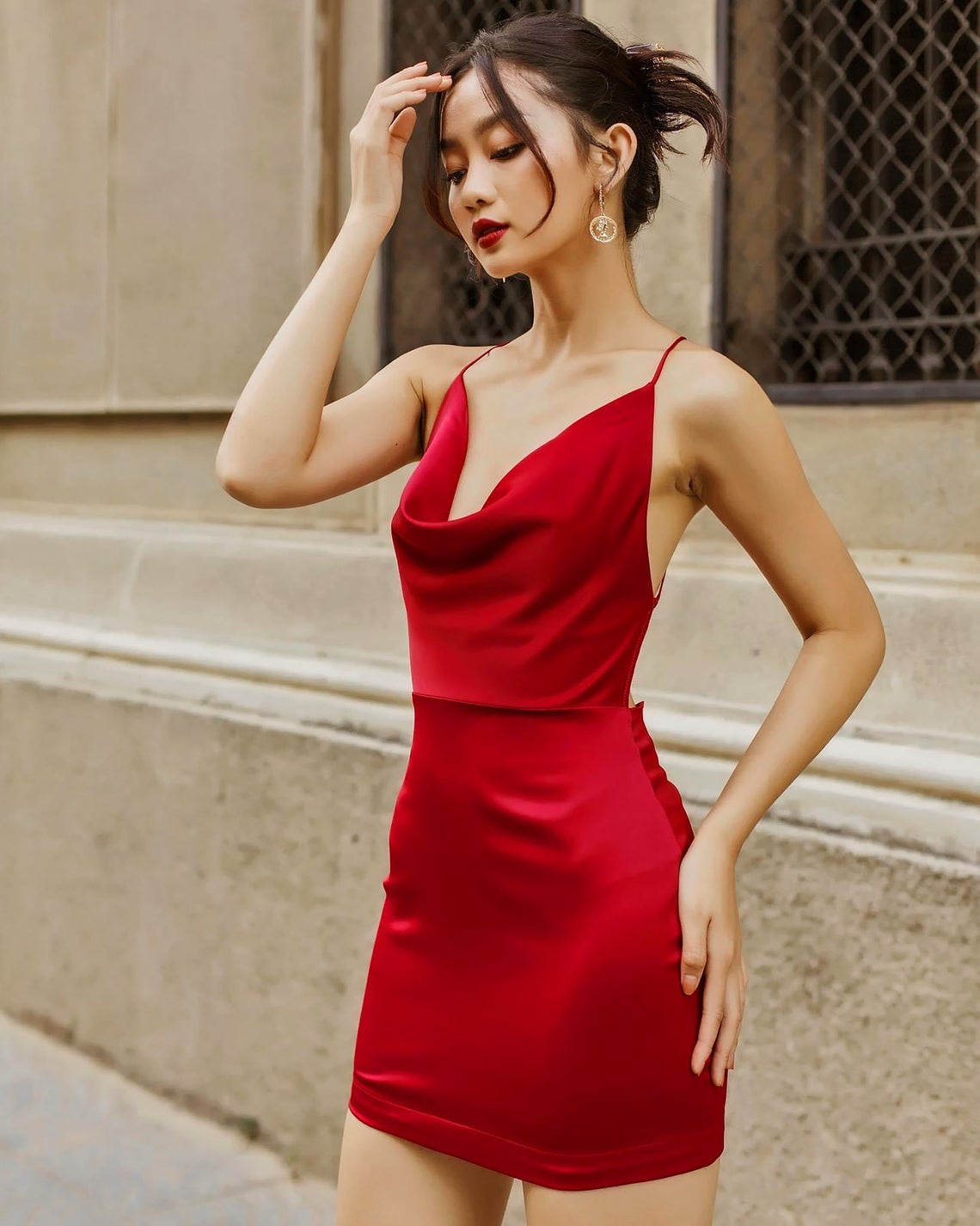 Silk Cowl Neck Party Dress - Silk Dress Women - Open back dress - Dress for party - Silk Slip Dress - Laberasilk - Mother Day Gift