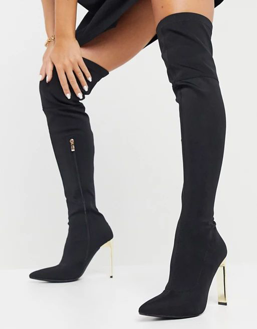 Simmi London Liane stretch over the knee boots with gold heel in black