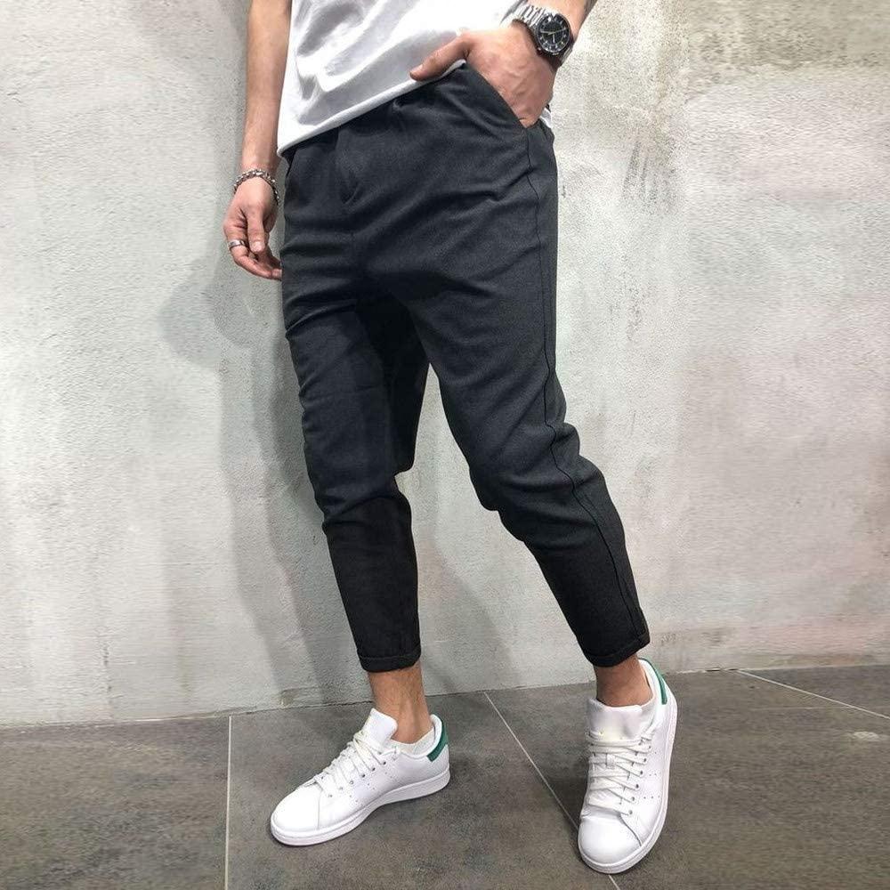 Skang Men's Sweatpants Casual Comfortable Cotton Blend Ankle-Length Pants Stretch Joggings Solid Color Cropped Pants Pocket Pants Trousers Slacks