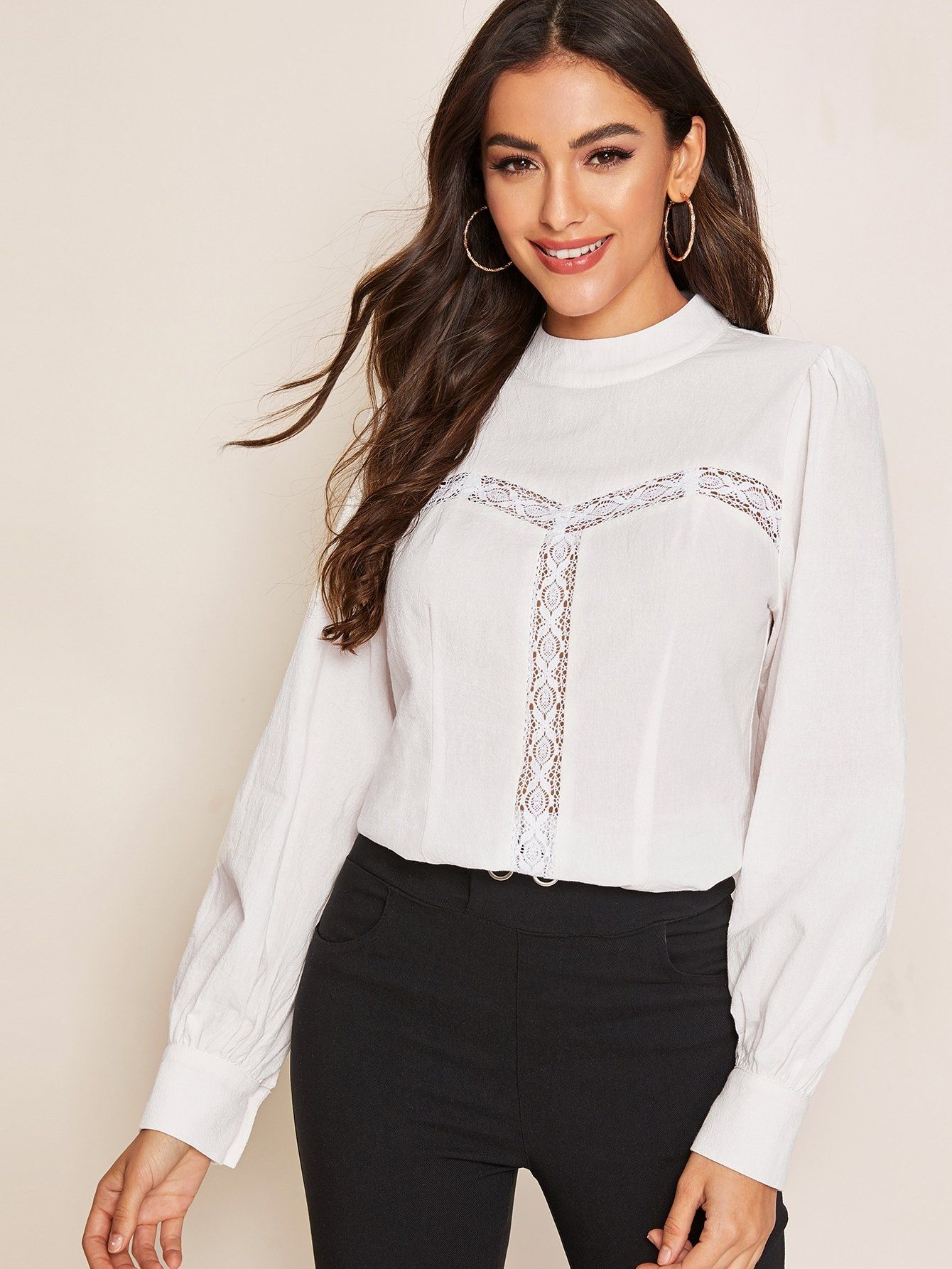 Solid Mock-neck Lace Insert Top