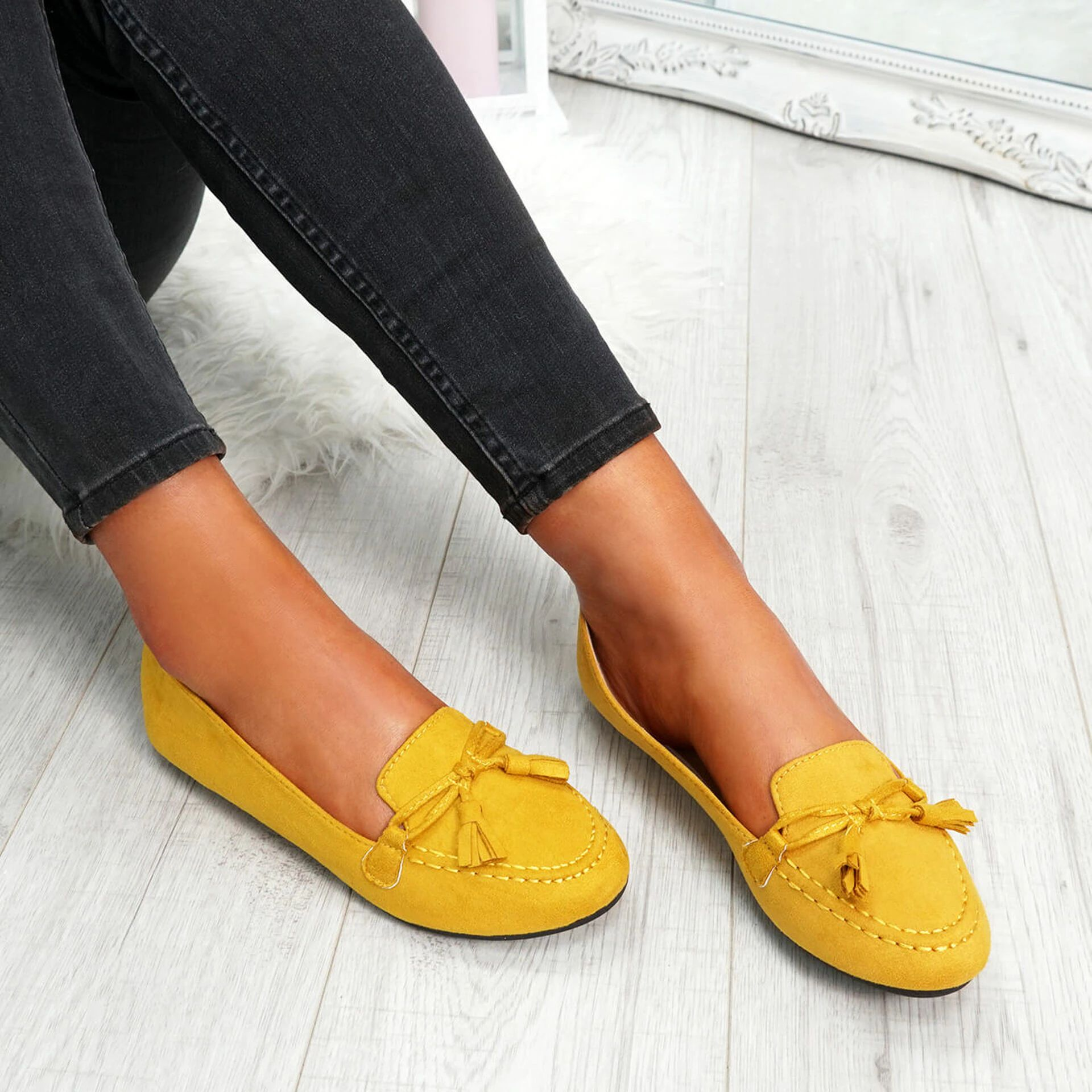 Somme Yellow Bow Ballerinas