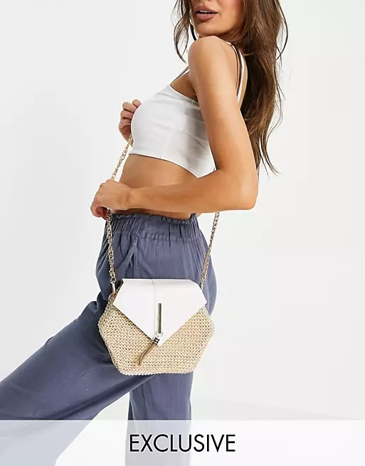 South Beach cross body bag with chunky gold chain in natural