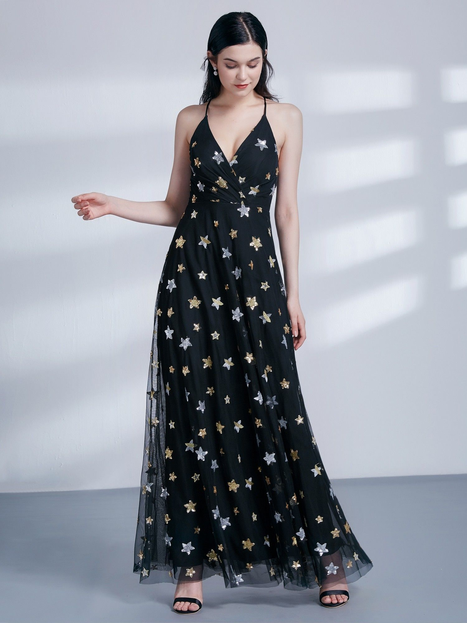 Star Print V Neck Party Dress