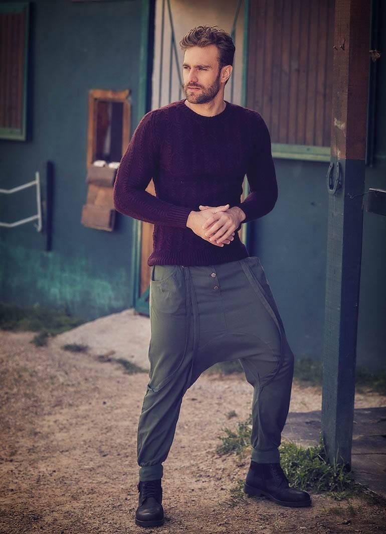 Straped Low Rise Khaki Men's Drop Crotch Pants