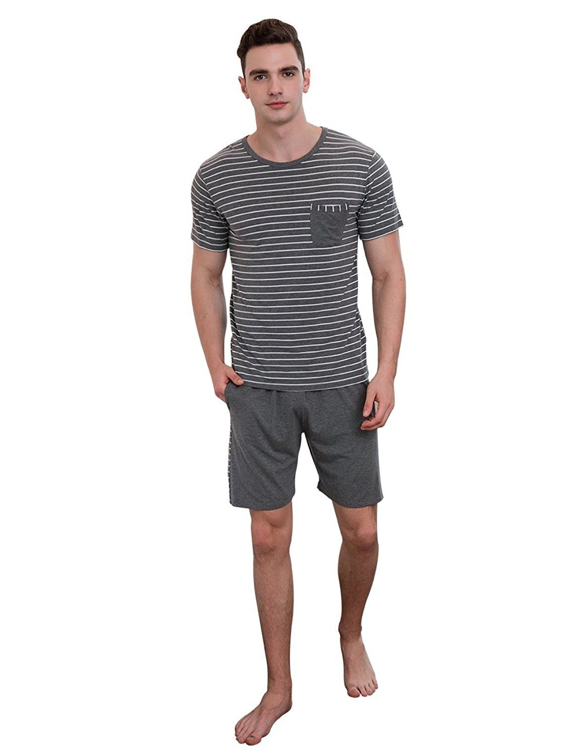 Striped Short-Sleeve Top With Shorts