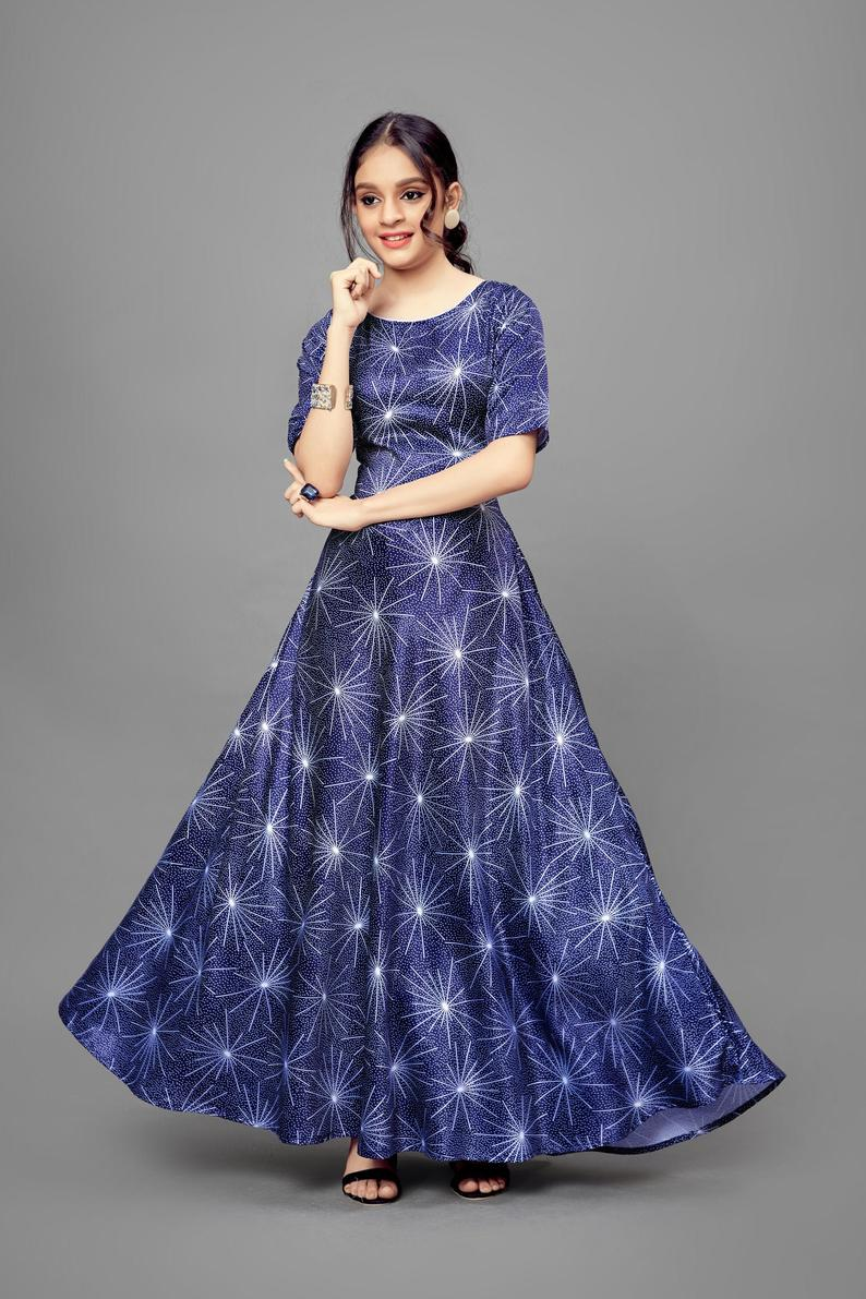Stylish Flared Star Printed Satin Fully Stitched Indian Party Wear For Girls/Tradition Short Sleeve Maxi Look Gown/Indian Ethnic Wear