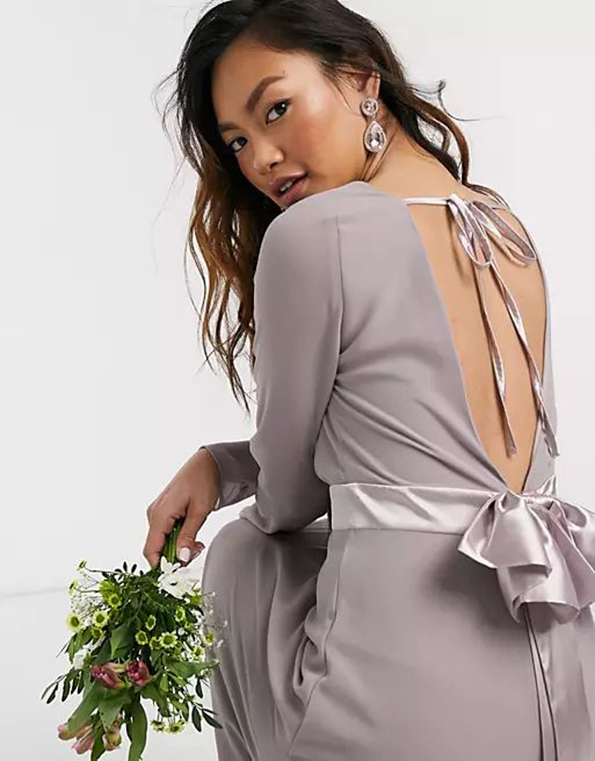 TFNC Bridesmaids long sleeve bow back maxi dress in grey