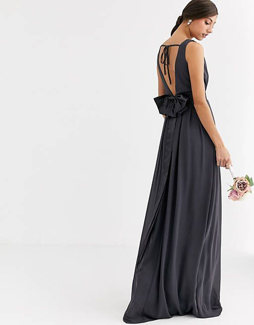 TFNC Tall Bridesmaid maxi dress with bow back in grey