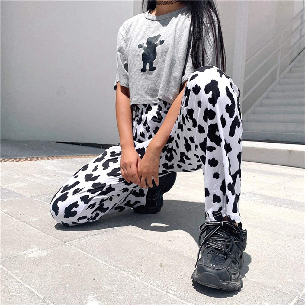 Timagebreze Casual Elastic High Waist Milk Cow Print Pants Women Harajuku Streetwear Straight Loose Joggers Trousers Pants L Size