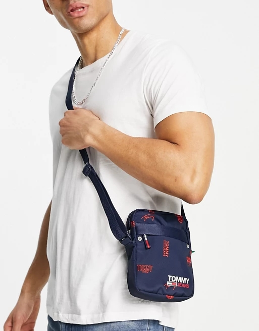 Tommy Jeans flight bag with all over logo in navy
