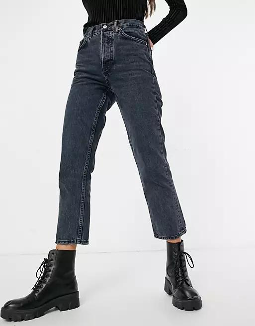 Topshop Editor straight leg jeans in blue black