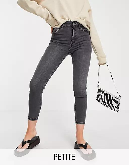 Topshop Petite Jamie jeans in washed black