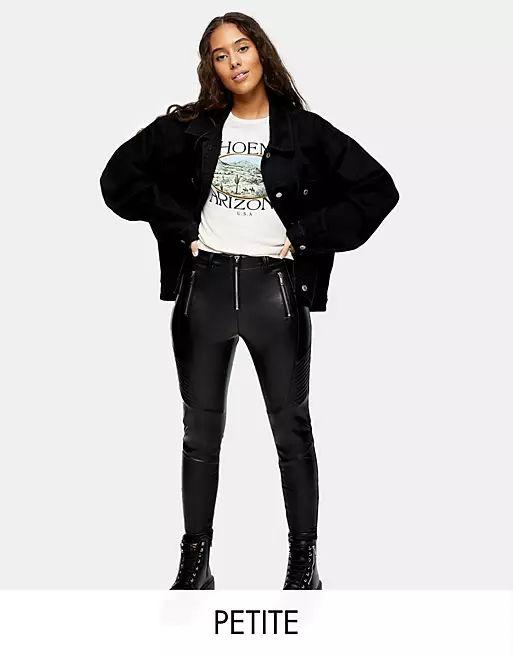 Topshop Petite faux leather biker trousers in black