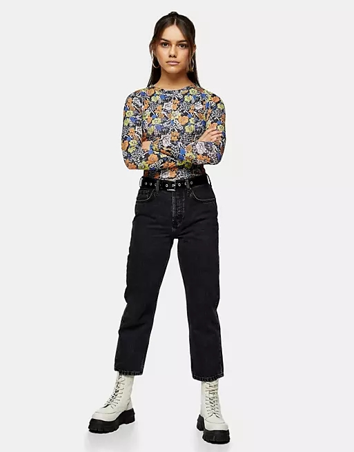 Topshop Petite worn black Editor jean