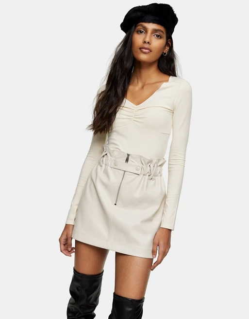 Topshop faux leather zip detail paperbag mini skirt in cream