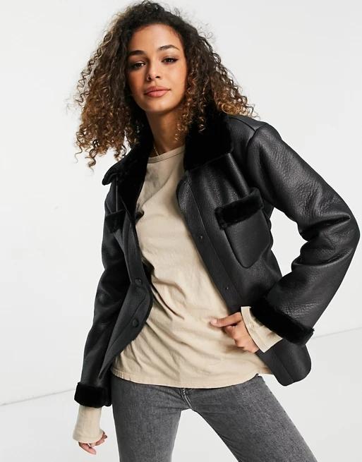 Topshop faux shearling tie waist jacket in black