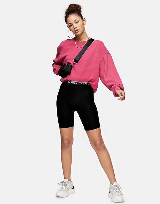 Topshop legging shorts in black