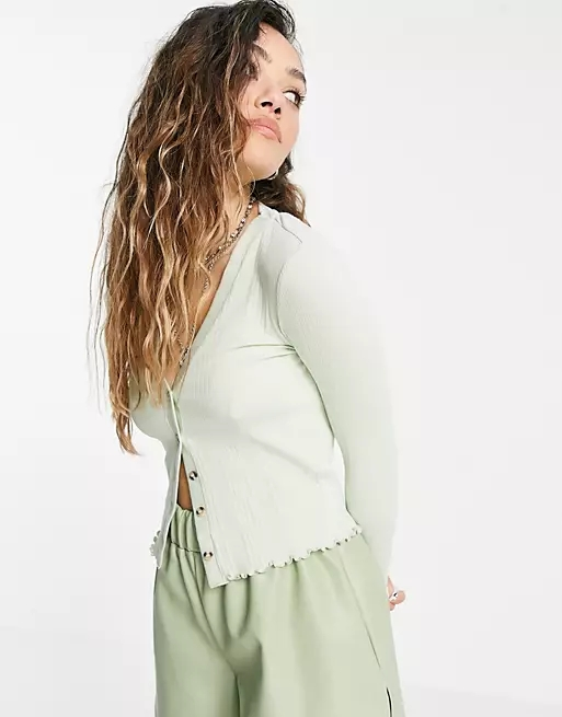 Topshop ribbed button through cardigan in sage