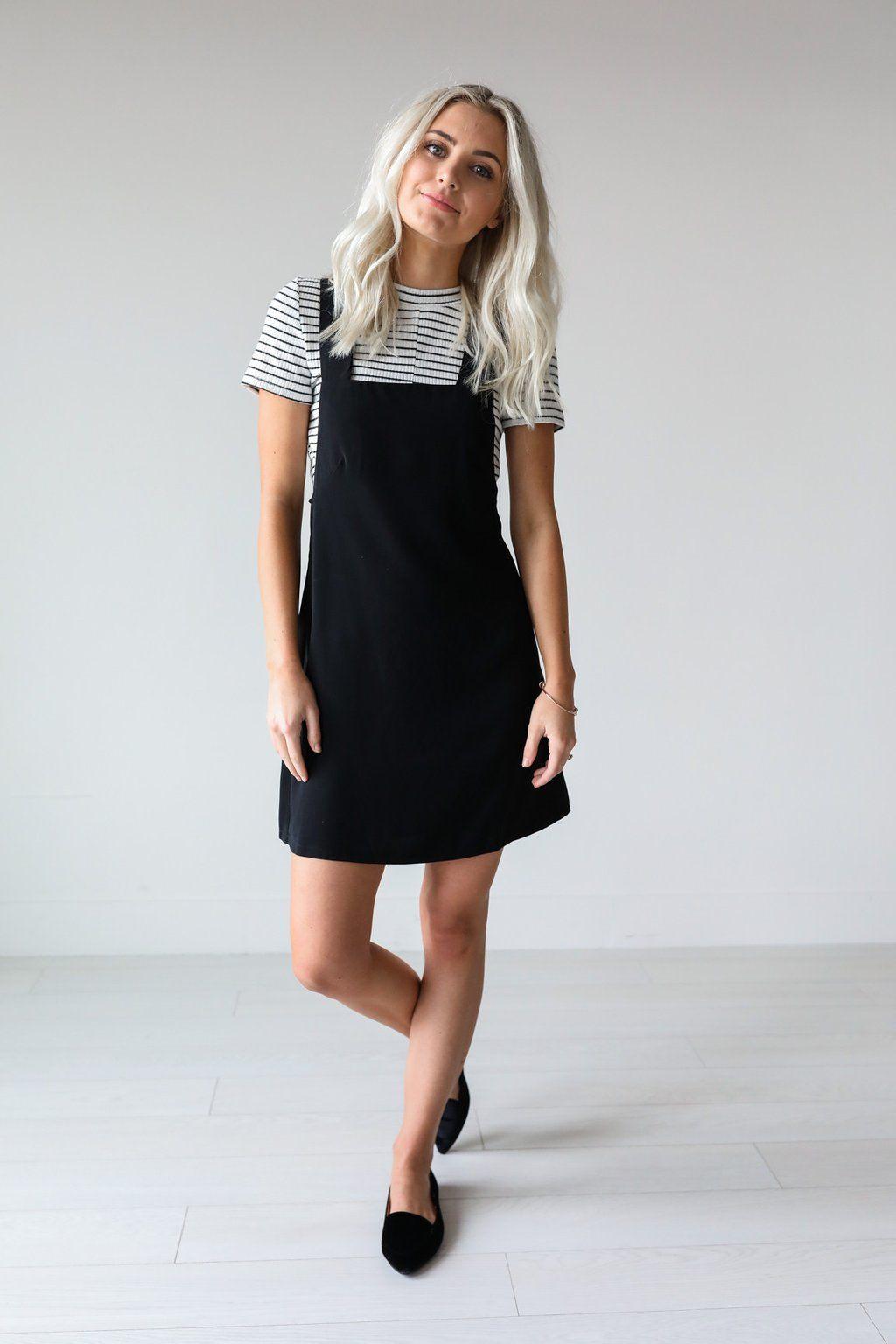 Trendy black overall dress